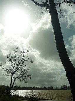 Ribera, Guadiana, Sun, Clouds, River, Trees, Landscape