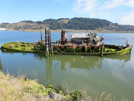 Oregon, Boat, Old Boat, Sunken Boat, Pacific, Fishing