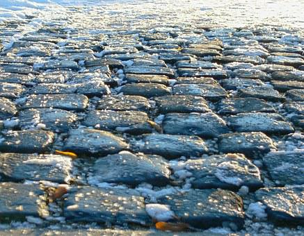 Paving Stone, Away, Winter, Smooth, Road, Nature, Photo