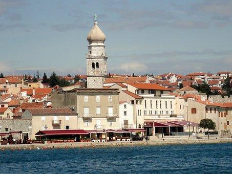 Island, Istria, Krk, Port City, Church, Beach, Water