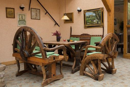 Seating Area, Rustic, Rural, Restaurant, Table, Bank