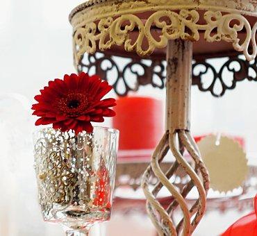 Gerbera, Glass, Stand, Retro, Decoration