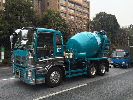 Truck, Stirrer, Of, Cement, Japan, 2015