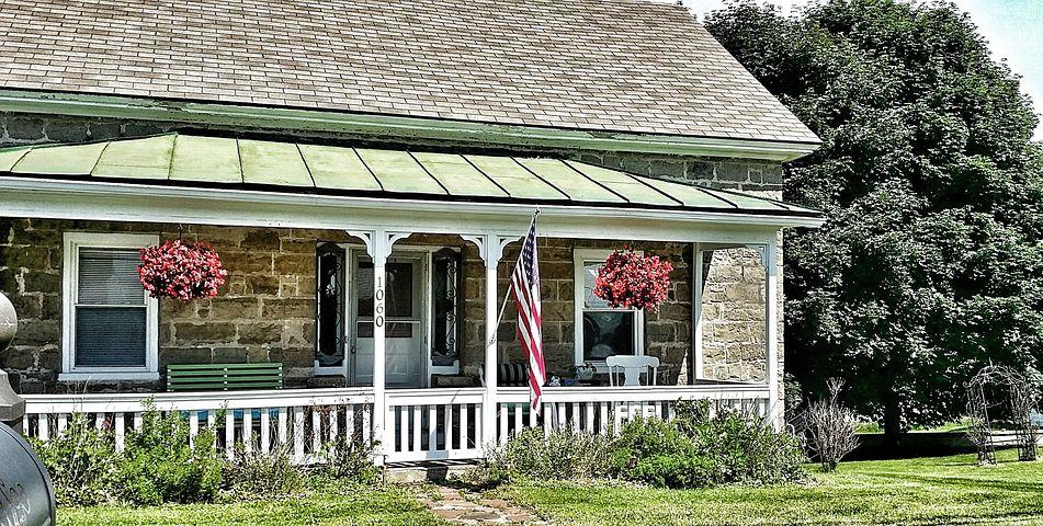 Home, Stone, Porch, House, Architecture, Historic