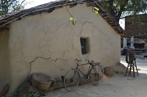 Village, Hut, Indian Village, Landscape, Countryside