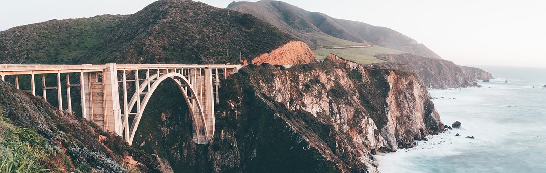 Bixby Bridge, Mountains, Land, California, Bridge