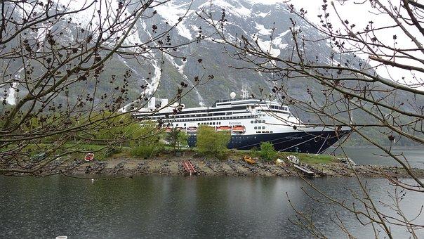 Norway, Eidfjord, Landscape, Water, Cruise Ship, Snow