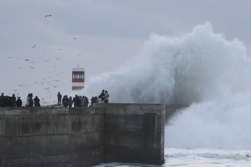 Giant Wave, Rough Sea, Lighthouse, Curling, Agitation