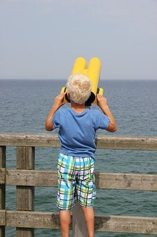 Child, Telescope, Sea, Watch, Distant View, Viewpoint