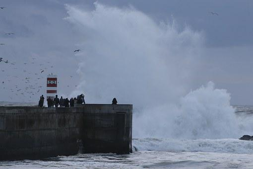 Giant Wave, Curling, Lighthouse, Rough Seas