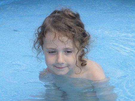 Child, Girl, Curls, Swim, Water, Summer, Swimming Pool