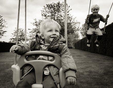 Swing, Kids, Boys, Little, Happy, Fun, Boy, Childhood