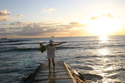 Hawaii, Waikiki, Honolulu, Beach, Evening, Woman