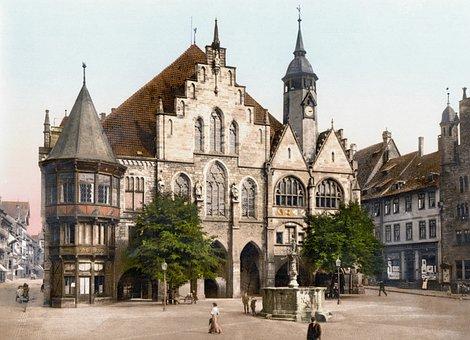 Town Hall, Hildesheim Germany, 1900, Photochrom