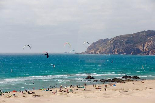 Cascais, Portugal, Sea, Surfer, Wind, Blue, Waves, Kite