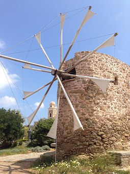 Windmill, Crete, Land, Plateau, Island Of Crete