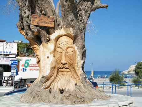Olive Tree, Face, Crete, Vacations, Island, Gnarled