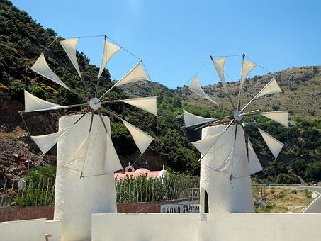 Windmills, Island Of Crete, Plateau, Landscape, Holiday