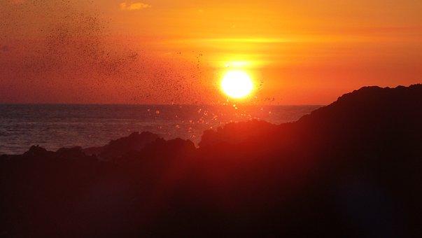 Splash, Sunset, Cape, Verde, Water, Sea, Wave