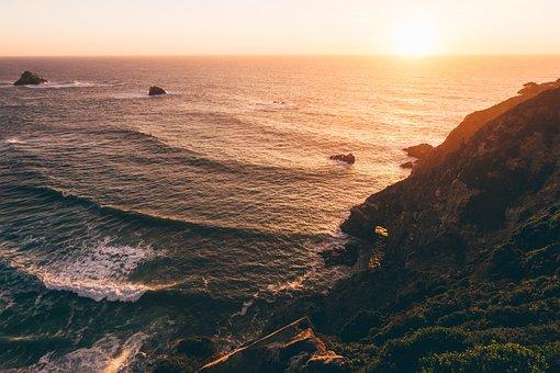 Sunset, Ocean, Waves, Cliff, Water, Orange, Blue, Sea
