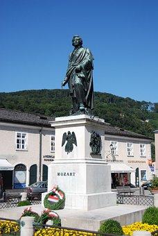 Mozart, Wolfgang, Amadeus, Salzburg, Austria, Statue