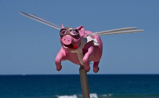 Pig, Flying, Sculpture, Art, Animal, Pink, Cartoon