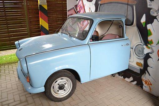 Ddr, Auto, Light Blue, Trabi, East Germany, Classic