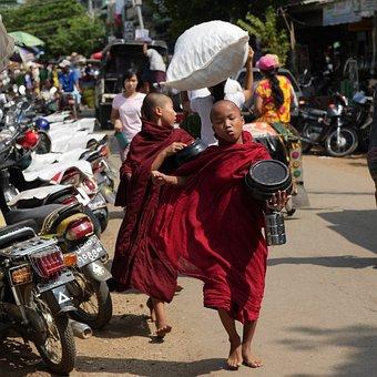 Monks, Myanmar, Children, Child Monks, Buddhism, Boys