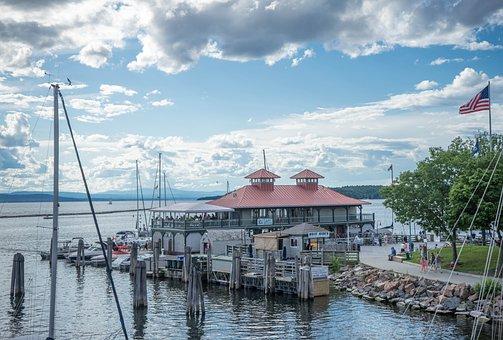 Vermont, Lake Champlain, Marina, Summer, Clouds, Water