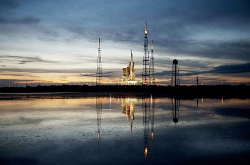 Aires, I-x Rocket, Launch Pad, Sky, Clouds, Lake, Water