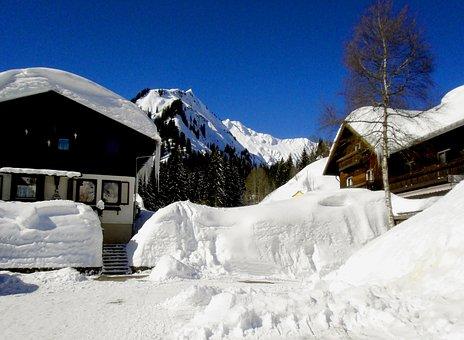 Sky, Blue, Snow, Cottages, Winter, Nature, Cold
