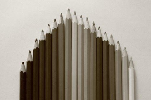 Crayons, Color Scale, Black, White, The Background