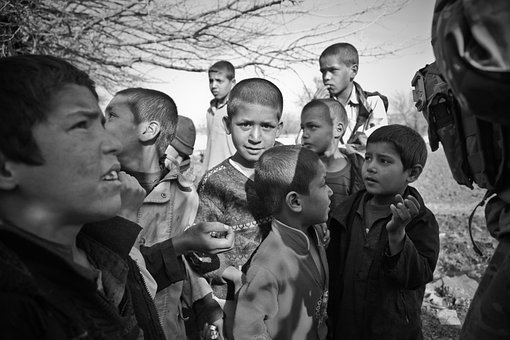Children, Afghanistan, Curious, Boys, Begging, Soldiers