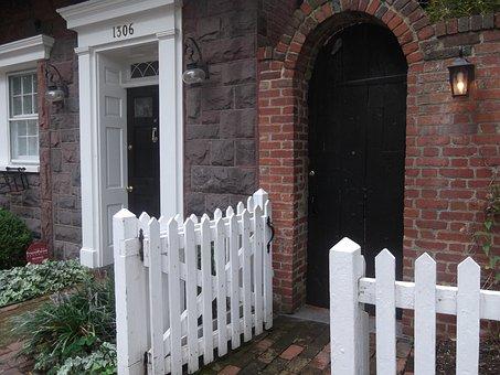 Door, Gate, Lantern, Georgetown, Red Brick, Enter