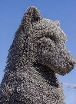 Wolf, Sculpture, Art, Head, Face, Wire, Metal, Grey