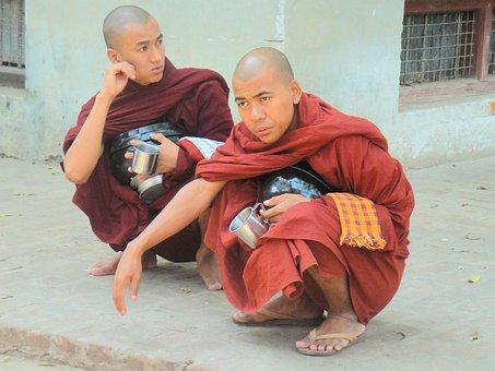Monks, Religion, Buddhism, Faithful, Myanmar, Burma