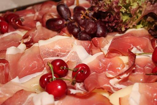 Ham, Cooked, Buffet, Cherries, Raw, Delicious, Food