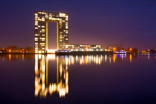 Groningen, Tower, Condominium, Lights, Night