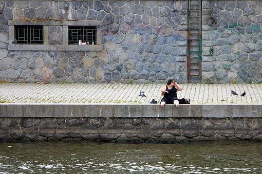 Woman, River, Vltava, Female, Person, Leisure, One