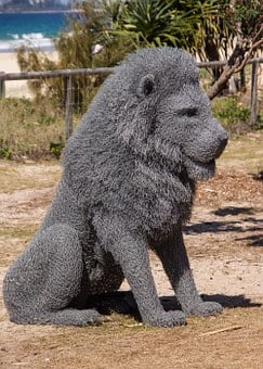 Lion, Sitting, Model, Grey, Life-size, Sculpture, Art