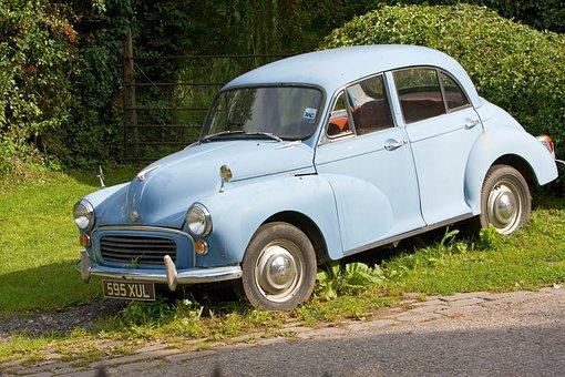 Vintage, Car, Morris Minor, Blue, Old, Vintage Car