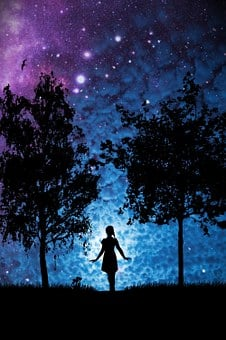 Star, Woman, Trees, Silhouette, Girl, Light, Mystical