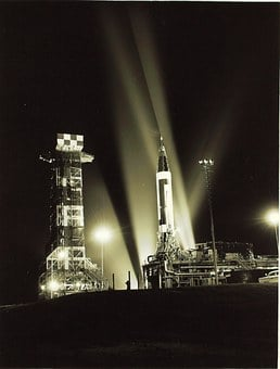 Cape Canaveral, Florida, Rocket, Night, Evening, Lights