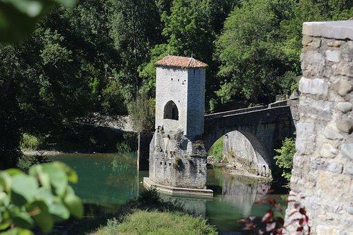 Old Bridge, France, Sauveterre De Béarn, Old Village
