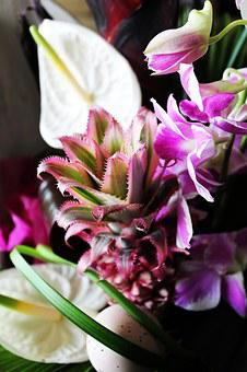Floral Composition, Pineapple, Orchid, Arum