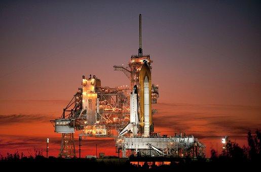 Atlantis, Space Shuttle, Rocket, Launch Pad, Evening