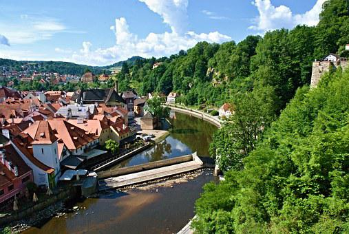 Czech Krumlov, View, River, Weir, Old Town, Landscape