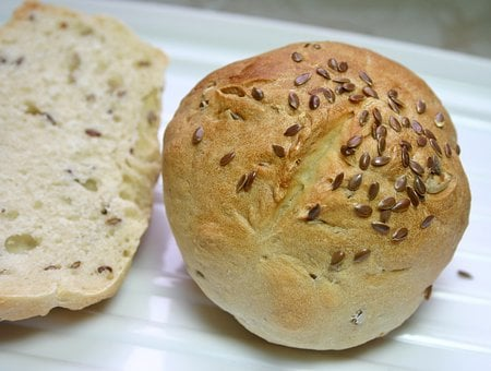 Roll, Flax Seed, Grain Bread, Pastries, Crispy, Baked