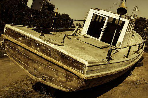 Boat, Old, Abandoned, Aged, Weathered, Withdrawal