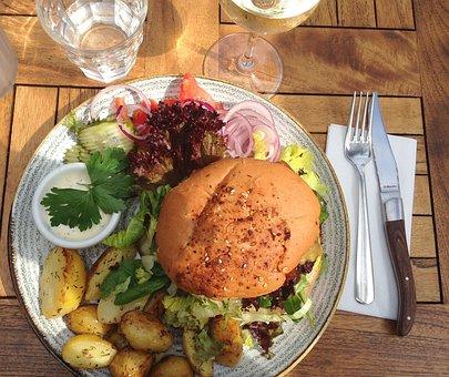 Burger, Food, Potatoes, Meal, Beef, Meat, Beautiful